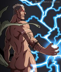 1boy ass back_view color dark-skinned_male dark_skin fullmetal_alchemist grey_hair human lightning looking_at_viewer looking_back male male_only milo_hornyck multicolored_hair muscles muscular muscular_male nude red_eyes scar scar_(fma) simple_background solo solo_male tattoo undressing white_hair