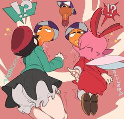 !? 2girls 3boys adeleine artist black_eyes black_hair captainkirb cum cumdrip dress dripping fairy fairy_wings fellatio female flying green_shirt kirby_(series) kirby_64 legs male multiple_boys multiple_females multiple_girls multiple_males nintendo onomatopoeia oral orange_penis penis pink_hair ribbon_(kirby) shoes simple_background skirt sound_effects speech_bubble straight sucking text thick_penis thick_thighs thighs umbrella vein veiny_penis wings