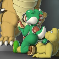 animal_genitalia animal_penis anthro anthro_on_anthro anus ass balls barefoot big_dom_small_sub big_feet big_nose blue_eyes bowser claws closed_eyes clothing cock_ring cum cum_from_mouth cum_in_ass cum_in_mouth cum_inside cum_on_anus cum_on_butt cum_on_face cum_on_penis cum_on_tongue erection fellatio footwear group group_sex half-closed_eyes hand_on_head holding_balls king koopa koopa_troopa long_tongue lying male male/male mario_bros nintendo nude on_back on_ground on_top open_mouth oral orgasm penis reptile reverse_cowgirl_position royalty saliva scalie sex sharp_claws shell shoes sitting size_difference slightly_chubby smile spikes squeeshy standing tapering_penis thick_penis thick_thighs threesome toe_claws tongue tongue_out turtle video_games yoshi