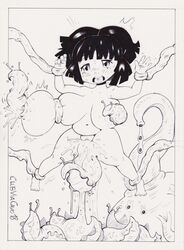 ahe_gao belly bellybutton big_breasts birth bondage breast_grab breast_squeeze breast_sucking breasts chubby clubviacavo crying insects leg_grab nipple_penetration oviposition rape slug tentacle traditional_media_(artwork) vaginal_penetration wrist_grab