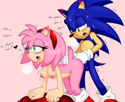 all_fours amy_rose anal anal_fingering anthro areolae ass ass_up bent_over big_breasts black_nose blue_balls blue_fur blue_hair blue_penis blush breasts denizen1414 dialogue doggy_style dripping duo erect_nipples erection fingering from_behind from_behind_position gloves green_eyes hair_ornament hairband hanging_breasts heart hedgehog legs looking_pleasured mammal mostly_nude nipples open_mouth penetration penis pink_fur pink_hair pink_nipples randomguy999 saliva sega sex shoes sonamy sonic_(series) sonic_the_hedgehog standing straight sweat sweatdrop tail text thighs tongue tongue_out vaginal_penetration white_gloves