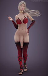 3d big_breasts bra breasts cleavage dickgirl erection futa_only futanari huge_cock large_breasts looking_at_viewer penis seraphina_(character) solo stevencarson thighhighs