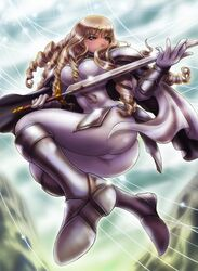 anastasia_(claymore) armored_boots artist_request ass blonde_hair bodysuit breasts cape claymore dat_ass drill_hair female female long_hair shoulder_armor shoulder_pads silver_eyes sword thighs wavy_hair weapon