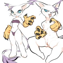 anthro big_ears blue_eyes breast_grab breasts claws closed clothing digimon fangs feline female gatomon glacierclear gloves hair hand_on_breast long_tail mammal navel nipples one_eye_closed purple_hair pussy small_breasts solo strapless_bra thong tongue tongue_out top whiskers wink