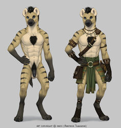 2018 5_fingers abs anisis anthro balls barefoot black_nose blue_eyes clothed clothing digital_media_(artwork) digitigrade hi_res hyena male mammal model_sheet multiple_versions muscular muscular_male navel nude penis solo standing