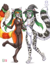 2018 5_fingers anthro black_nose breasts duo eyewear feline female glasses green_eyes green_hair hair kacey leopard mammal nipples nude open_mouth pussy red_panda smile snow_leopard teeth tongue traditional_media_(artwork)