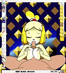 animated animated blowjob female furry happy_sex isabelle_(animal_crossing) male minus8 oral paizuri tagme titjob