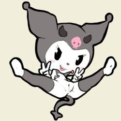 2018 anthro blush devil_tail female fur hi_res horn itsunknownanon kuromi lagomorph looking_at_viewer mammal nude open_mouth please_my_melody pose presenting presenting_pussy pussy rabbit sanrio solo spread_legs spreading v_sign white_fur