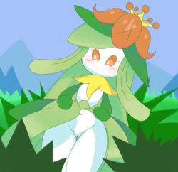 2018 blush bottomless boxf clothed clothing featureless_chest female flora_fauna green_hair hair lilligant navel nintendo not_furry nude orange_sclera plant pokémon_(species) pokemon pussy solo thick_thighs thigh_gap video_games white_eyes white_skin