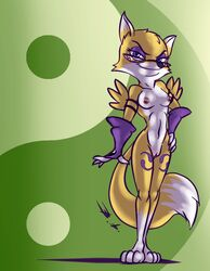 2018 alternate_color anthro armwear bassywolfeh blue_eyes breasts canine clothing cosplay crossover digimon eyelashes eyeshadow eyewear female fox glasses hands_on_hips looking_at_viewer lt._fox_vixen makeup mammal mostly_nude nipples pussy renamon simple_background smile solo squirrel_and_hedgehog standing