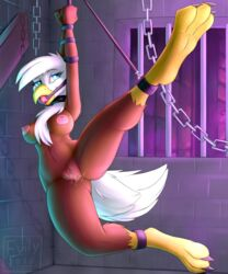 anthro avian ball_gag beak bondage bound breasts evilymasterful female gag gagged gryphon nipples nude pussy pussy_juice smile solo spread_legs spreading thick_thighs