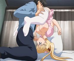 1boy 69 airi_akizuki animated animated ass_grab blonde_hair blue_gale blush bouncing_breasts breasts breasts_outside censored clothed_sex cunnilingus erect_nipples father_and_daughter fellatio female hat incest indoors irrumatio large_breasts nipples nurse nurse_cap oni_chichi oral penis poro ribbon stitched straight thighhighs third-party_edit top-down_bottom-up twintails upside-down white_legwear