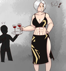 abs dress emmahe muscular_female size_difference white_hair