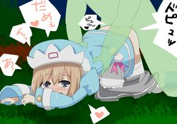 ass_up blue_dress blue_eyes blue_hat blush brown_hair crying flat_chest green_monster hat holding japanese_text mouth_open neptunia_(series) night on_grass outdoors rom_(neptunia) short_hair