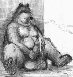 balls bd belly big_balls big_belly big_penis canine canine cum erection excessive_cum looking_at_penis male mammal masturbation on_ground overweight pawpads pencil_(artwork) penis sitting solo traditional_media_(artwork)
