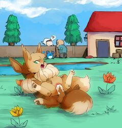1girl 3_fingers 3_toes 3boys ? alternate_color brother brother_and_sister brown_pawpads building clitoris closed_eyes cum cum_in_pussy cum_inside cute_fangs dipstick_tail duo_focus eevee female female_on_top feral feral_on_feral flower fluffy fluffy_tail furry grass green_eyes group house human incest lake looking_back male male_penetrating mammal marill multicolored_tail nintendo on_top one_eye_closed open_mouth orgasm original_character outside pawpads penetration penis pine_tree plant pokémon_(species) pokemon pussy sibling sister smile spread_legs spreading straight tahla telain testicles tingtongten toes tongue tree twins vaginal_penetration video_games