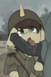 equine fan_character horn male male/male mammal marsminer my_little_pony oral pone_keith soldier unicorn