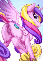 2018 alicorn anatomically_correct anatomically_correct_pussy animal_genitalia animal_pussy anus ass blue_background crown cutie_mark dock equine equine_pussy eyelashes feathered_wings feathers female feral friendship_is_magic gradient_background hair hooves horn long_hair looking_at_viewer looking_back mammal multicolored_hair my_little_pony mysticalpha nude princess_cadance_(mlp) puffy_anus purple_eyes purple_feathers pussy rear_view royalty signature simple_background smile solo standing watermark wings