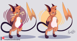 1boy animal_genitalia anthro armpits belly big_ears big_tail brown_eyes brown_fur electricity erection feet fur furry grey_background humanoid_penis knot looking_at_viewer male male_only mammal mandyfoxy mouse nintendo no_nipples nude orange_fur paws penis pokémon_(species) pokemon pokemon_rgby raichu red_sclera rodent shadow sheath solo standing tail testicles text tongue tongue_out url veins veiny_penis video_games watermark white_fur wide_hips