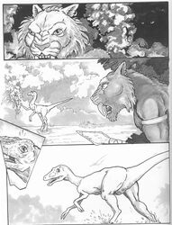 animal_genitalia anthro armband armlet athletic chris_sawyer cloaca clothed clothing comic dinosaur ear_piercing fangs feline feral genital_slit grass hunter hunting male mammal mane melee_weapon monochrome nude outside partially_submerged piercing plant polearm prey_for_me_(comic) raptor river running saber-toothed_cat sabertooth_(disambiguation) scales scalie shocked slit snarling spear surprise theropod topless water weapon