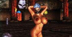 1girl 3d areolae belly bellybutton big_breasts blue_eyeshadow blue_hair breasts closed_eyes cybercole360 eyebrows eyelashes eyeliner eyes eyeshadow female female_only frost hairless_pussy human human_only legs lips lipstick makeup mask mortal_kombat naked nude nude_female posing red_nipples render solo solo_female spire tan tanned tanned_skin xnalara xps