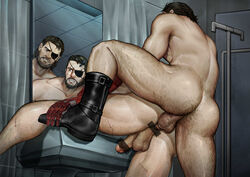 anal ass bara bathroom body_hair boots eyepatch loserno.3 male_focus metal_gear_(series) metal_gear_solid mirror muscle nude penetration sex tagme yaoi