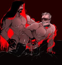2boys anal ball_gag bara blizzard_entertainment cum digital_drawing_(artwork) drooling evil_grin evil_smile gag grin happy_sex male_focus multiple_boys muscle overwatch penetration reaper sex smile soldier_76 yaoi