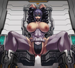 1girl abs arms_behind_back arms_behind_head ass ball_gag blindfold bodysuit bondage bound breasts fat_mons female female_only gag gagged ghost_in_the_shell highres huge_breasts kusanagi_motoko large_ass leggings leotard muscular muscular_female purple_hair restrained sitting solo sweat thick_thighs wet wide_hips xxoom