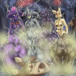 1girl 4boys 5_toes ambiguous_gender banette big_feet black_eyes black_skin breasts brown_fur closed_eyes detailed_background feet female female_on_feral femdom feral foot_fetish foot_focus furret ghost group haunter humanoid humanoid_on_feral hyper hyper_feet interspecies mammal mimikyu mismagius musky nintendo no_humans not_furry_focus nude on_back paws pokémon_(species) pokemon pokemon_dppt pokemon_gsc pokemon_rgby pokemon_rse pokemon_sm purple_skin red_eyes red_sclera rodent smell smile soles somevelvetmorning spiral_eyes spirit sweat teeth toes video_games wet yellow_sclera zipper zoophilia
