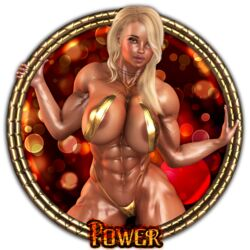 1girl 3d abs areola_slip arms_up bare_shoulders becarra big_breasts black_eyes blonde_hair busty curvy detailed_background ear_piercing earrings english_text eyelashes female female_only green_eyes hair_over_one_eye holding_object hourglass_figure human julie_(becarra) long_hair looking_at_viewer muscle muscular muscular_female necklace one-piece_swimsuit piercing pose posing shiny shiny_skin skimpy solo solo_female swimsuit text thong voluptuous wide_hips yellow_hair