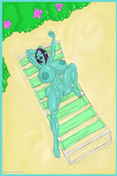1girl alien alien_girl arms_up artist_name bare_shoulders barefoot beach big_breasts blue_eyes blue_hair busty chair cleavage curvy detailed_background ear_piercing earrings erect_nipple erect_nipples eyelashes female female_only front_view green_skin hourglass_figure humanoid lying lying_on_back mammal naked not_furry nude on_back outdoor outside piercing pink_skin pointy_ears pose posing sand shaved_pussy shiny shiny_skin solo solo_female soria sun1sol thick_lips thick_thighs voluptuous wide_hips