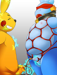 2018 2boys absurd_res anthro anthro_on_anthro anthrofied ball_gag bell belly biped black_nose blindfold blue_skin bondage bound chubby closed_eyes cock_and_ball_torture collar domination duo electricity electrostimulation erection foreskin funnybox fur furry gag gagged gay grey_background grin hands_behind_back hi_res humanoid_penis interspecies kemono male male_domination male_only mammal marine masturbation mudkip navel nintendo nipples nude overweight overweight_male penile_masturbation penis pikachu pokémon_(species) pokemon pokemon_rgby pokemon_rse rope rope_bondage rope_harness simple_background smile standing submissive_male teeth testicles uncut video_games yaoi yellow_fur