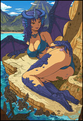 2girls aqua_bikini aqua_swimsuit ass beach bikini blue_hair blue_horns breasts cameltoe claws cleavage cloud curvy dragon_girl dragon_wings dress female female_only giantess highres hips horns huge_ass human jewelry karbo large_breasts laying legs lips long_hair looking_at_another lying monster_girl mountain multiple_females multiple_girls necklace ocean on_side open_mouth outdoors pink_dress pointy_ears sea shadow shipwreck sitting sitting_on_person sky smile swimsuit thick_thighs thighs water wide_hips wings yellow_eyes