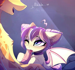 2018 bat_pony bat_wings blue_eyes blush chest_tuft choker cute cute_fangs dialogue duo equine erection eyebrows eyelashes eyeshadow fan_character fangs female feral feral_on_feral floppy_ears fur giraffe gradient_eyes hair heart hi_res hooves inner_ear_fluff interspecies larger_male licking magnaluna makeup male male/female mammal mascara membranous_wings moan multicolored_hair my_little_pony nude one_eye_closed open_mouth open_smile oral penis penis_grab penis_lick pink_hair saliva sex shaking short_hair simple_background sitting size_difference slit_pupils smile sunset_sorbet text tongue tongue_out tuft two_tone_hair wings