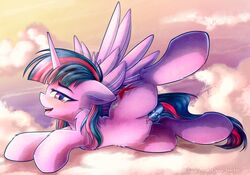 2018 alicorn chaosangeldesu cloud cutie_mark equine feathered_wings feathers female feral friendship_is_magic hair hi_res horn looking_at_viewer mammal my_little_pony on_cloud open_mouth outside penetration pussy sex_toy solo twilight_sparkle_(mlp) wings