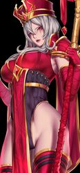 female female_only heroes_of_the_storm kumiko_(aleron) large_breasts no_pants red_clothing red_eyes sally_whitemane scarlet_monastery staff white_hair world_of_warcraft