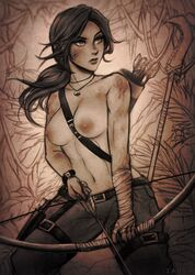 abs absurdres areolae arrow bow breasts female female_only highres iahfy lara_croft muscles muscular muscular_female nipples solo tomb_raider tomb_raider_reboot