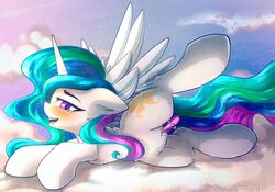 2018 alicorn blush chaosangeldesu clitoris cloud cutie_mark equine feathered_wings feathers female feral friendship_is_magic hair hi_res horn legs_up looking_at_viewer mammal multicolored_hair my_little_pony on_cloud open_mouth open_smile outside penetration princess_celestia_(mlp) purple_eyes pussy pussy_juice sex_toy smile solo spread_legs spreading vaginal_penetration vaginal_penetration wings
