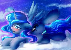 2018 alicorn chaosangeldesu cloud cutie_mark equine feathered_wings feathers female feral friendship_is_magic hair hi_res horn looking_at_viewer mammal my_little_pony on_cloud open_mouth outside penetration princess_luna_(mlp) pussy sex_toy solo wings