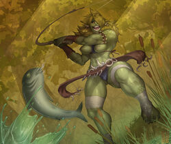 areolae armband between_breasts breasts breasts_out cedargrove clothes_between_breasts feet female female_only fish fishing fishing_rod foot_wraps forest grass green_hair green_skin hair_ornament hair_over_one_eye happy humanoid leg_wraps loincloth medium_breasts muscles muscular_female navel nipples open_smile orc orc_female original outdoors panties red_eyes sharp_teeth smile solo spiky_hair sweat toes toned tree upskirt water