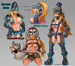 abs alternate_costume armor axe barbarian belt big_breasts blonde_hair blue_eyes boots breasts breath_of_the_wild eyes female futuristic gloves helmet markydaysaid muscles muscular muscular_female nintendo skull soldier the_legend_of_zelda weapon weapons zelda zelda_(breath_of_the_wild)