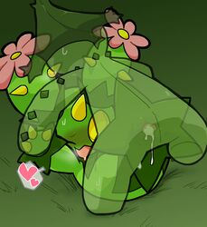 2015 ambiguous_gender ambiguous_penetration blush cacturne cum cum_inside duo flora_fauna flower grass green_background heart humanoid kageyama male male/ambiguous male_penetrating maractus nintendo one_eye_closed open_mouth penetration plant pokémon_(species) pokemon sex simple_background video_games