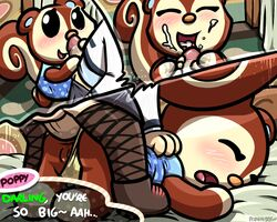 2018 anal anal_sex animal_crossing bed blush closed_eyes clothed clothing comic crossdressing cum cum_in_mouth cum_inside dialogue english_text female fishnet footwear handjob happy happy_sex human interspecies male male/female mammal nintendo open_mouth panties panties_aside penetration penis pokehidden poppy_(animal_crossing) pussy rodent sex shoes speech_bubble squirrel talk_bubble text underwear underwear_aside video_games villager_(animal_crossing)