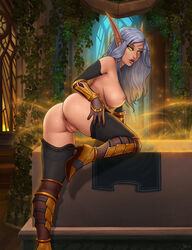 2018 anus ass blood_elf breasts clothing elf female footwear glowing glowing_eyes green_eyes grey_hair hair high_heels humanoid leaning leaning_forward looking_at_viewer nipples not_furry ottomarr pointy_ears presenting presenting_hindquarters pussy shoes video_games warcraft world_of_warcraft
