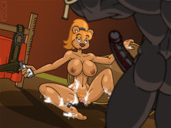 5_fingers anthro areola ass backsack balls bath bathing bathroom bathtub bear bed belt big_breasts big_penis blue_eyes bovine breasts bubble cattle digital_media_(artwork) duo erection eyebrows eyelashes female fur greg_panovich gun hair handgun holding_object holding_weapon holster huge_cock humanoid_penis imminent_sex male mammal muscular navel nipples nude penis ponytail pubes pussy ranged_weapon red_hair revolver soap spread_legs spreading standing surprise vein veiny_penis watermark weapon