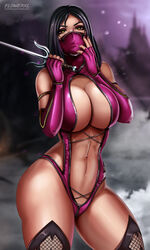 1girl abs ass big_ass big_breasts breasts cleavage clothed female female_only flowerxl large_breasts looking_at_viewer mileena mortal_kombat revealing_clothes solo text watermark wide_hips