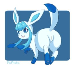 1girl 3_toes all_fours ass black_nose blue_fur blue_pawpads canine cute cute_fangs ears_up eeveelution female female_only feral fur furry glaceon inviting looking_at_viewer looking_back mammal markings momocha nintendo one_leg_raised open_mouth pawpads pokémon_(species) pokemon pokemon_dppt presenting presenting_hindquarters pussy raised_tail rear_view socks_(marking) solo text thick_thighs toes tongue video_games watermark