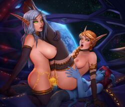 areolae big_breasts blood_elf breasts dickgirl double_penetration draenei elf erection female futa_on_female futa_with_female futanari large_breasts nipples ottomarr penetration penis pussy sex strap-on vaginal_penetration world_of_warcraft