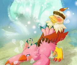 2018 avian beak bird biyomon blue_eyes blush claws closed_eyes cum digimon digimon_(species) drooling duo facial_markings feathers female forest from_behind_position hawkmon headband heart male male/female markings one_eye_closed outside pink_feathers red_feathers saliva sex shaking toe_claws tree white_feathers yarik