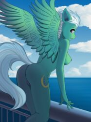 2018 5_fingers anthro areola ass biting_lip breasts cloud cutie_mark equine eyebrows eyelashes feathered_wings feathers female fleetfoot_(mlp) friendship_is_magic green_feathers hair leaning leaning_forward looking_at_viewer looking_back mammal my_little_pony nude outside pegasus portrait presenting purple_areola purple_eyes pussy pussy_juice railing rexiwiksi sea short_hair side_boob sky solo spread_wings standing teeth three-quarter_portrait water white_hair wings wonderbolts_(mlp)